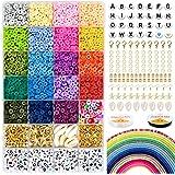 5000 polymeerklei platte ronde kralen, 6 mm platte polymeerklei schijfkralen en 218-delige witte letters AZ met 120-delige He