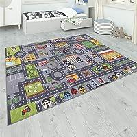 Paco Home Tapis De Jeu Chambre Enfant Gris Routes Filles Garçons, Dimension:80x150 cm, Couleur:Gris 2