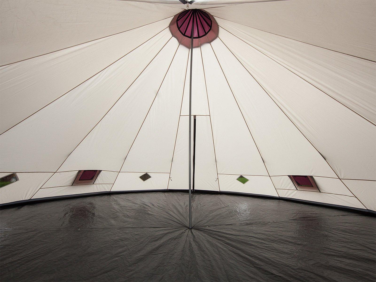 Skandika Teepee 301 Wigwam Style Indiana Tepee Tent, Sewn-In Groundsheet, 300 cm Peak Height, 3000 mm Water Column, Sand/Burgundy, 12-Person 4