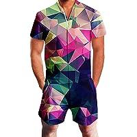 RAISEVERN Mens Zip up 3D Graphic Printed Designer Overall Jumpsuit Short Sleeve Jumpsuits Cool Design Short Cargo Pants…