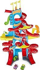 Fisher-Price FXK59 Little People Hochhaus-Rennbahn Autorennbahn mit Geräuschen inkl. 2 Spielfiguren, ab 18 Monaten, ca. 93 cm hoch