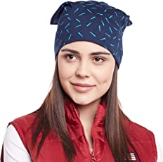 Vimal Navy Blue Printed Cotton Beanie Cap For Women