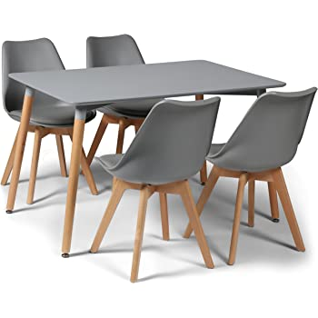 a91fe3d471e7 Your Price Furniture.com Toulouse Tulip Eiffel Style Dining Set - Grey  120x80cms Small Rectangular