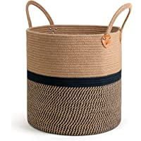 pepme Jute Cotton Laundry Basket, 16 inch Handcrafted Storage Bag for Home, Multi-Purpose Storage with Handle for Living…