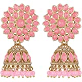 Peora Gold Plated Ethnic Studded Jhumki Traditional Wedding Earrings for Women