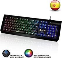 KLIM Domination Teclado Mecánico RGB ESPAÑOL - Interruptores Azules - Tecleo Rápido y Cómodo Teclado Gaming...
