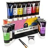 OfficeTree Acrylverf set 14 tubes à 100 ml - op waterbasis - acrylverf voor acrylschilderkunst - acrylverf voor stenen