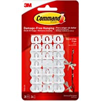 Command 17026 Decoration Clips for Christmas and Fairy Light - White, 20 Clips and 24 Strips
