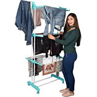 PARASNATH Powder-Coated Steel + Plastic Aqua 6 Layer Clothes Drying Stand with Breaking Wheel System Made in India…