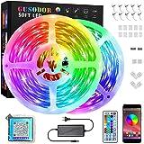 GUSODOR Ruban Led, 15M RGB Bande Led Lumineuse, Synchroniser avec Rythme de Musique, Fonction de Minuterie, Contrôlé par Blue
