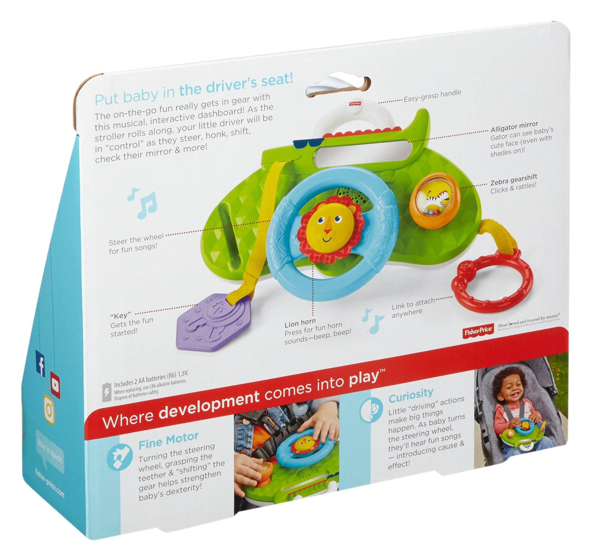 Fisher-Price Rolling and Strolling Dashboard, New-born Activity Toy with Music Sounds Fisher-Price  Attaches to stroller for playtime on the go  Turn the lion steering wheel to hear short songs  Push the lion's face for silly sound effects (Beep beep!) 8
