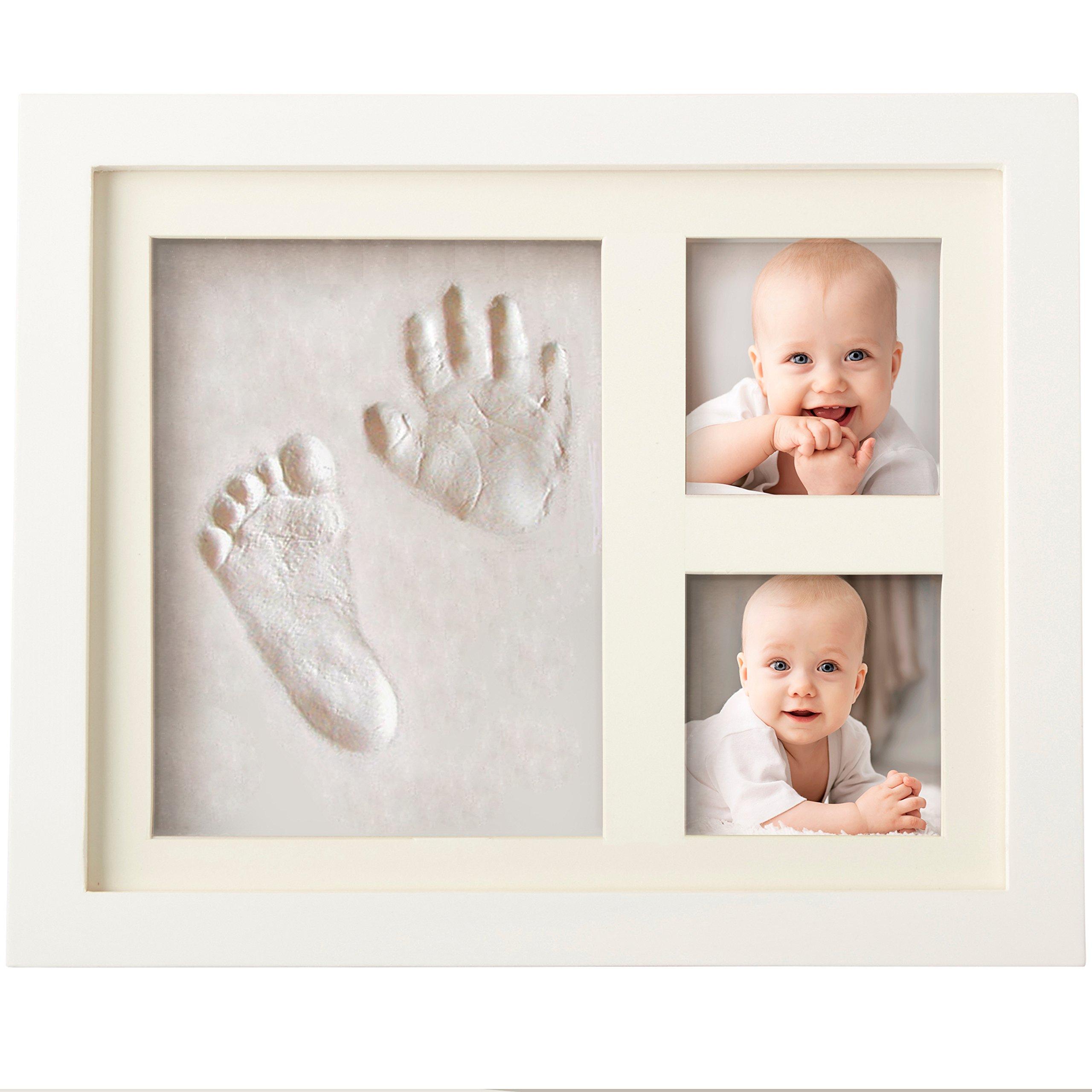 Bubzi Co – Kit de marco de huellas de mano y pie de bebé para niño y niña, regalos originales y únicos para la fiesta de bienvenida del bebé, decoraciones de pared o mesa con recuerdos memorables