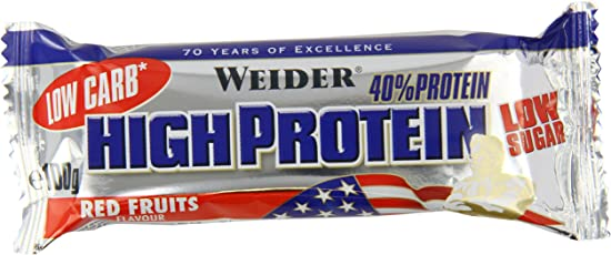 Weider 40% Protein Bar, Red Fruits, 1er Pack (20x 100g Riegel)