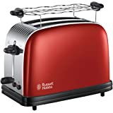 Russell Hobbs Toaster, Grille Pain Extra Large, Cuisson Rapide et Uniforme, Contrôle Brunissage, Chauffe Vionnoiserie - Rouge