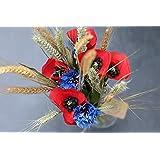 Handgefertigter Blumenstrauß Rheinhessen mit Mohnblumen & Kornblumen aus Papier und getrockneten Gräsern/haltbarer Blumenstrauß