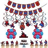 smileh Decoracion Cumpleaños de Spiderman Globos Feliz Cumpleaños del Pancarta Adornos de Pastel Remolinos Colgantes para Niñ