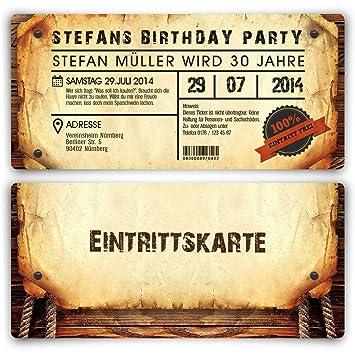 Personalisierte Einladungskarten Zum Geburtstag (50 Stück) Als  Eintrittskarte Im Vintage Look Ticket Karte