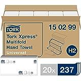 Tork Xpress Essuie-mains interfoliés - 150299 - Papiers d'essuyage pliés en Z, qualité Universal pour Distributeur H2 - Essui