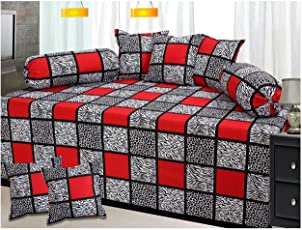 Fashion Fab 100% Cotton 8 Piece Diwan Set Combo - Red