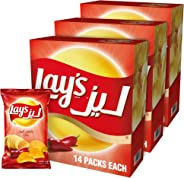 Lay's Chili Potato Chips 23gm x 14 Pack of 3