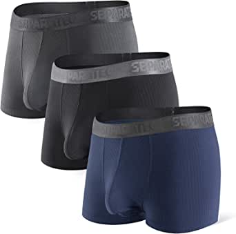 Separatec Men's Boxer Briefs with Separated Pouches Bamboo & Soft Modal Underwear Breathable and Soft Trunks with Fly 3 Pack Fitted Undershorts