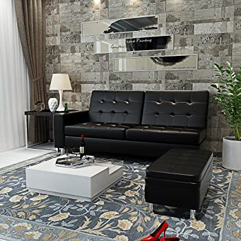 Panana 3 Seater Faux Leather Sofa Futon Bed Corner Couch With
