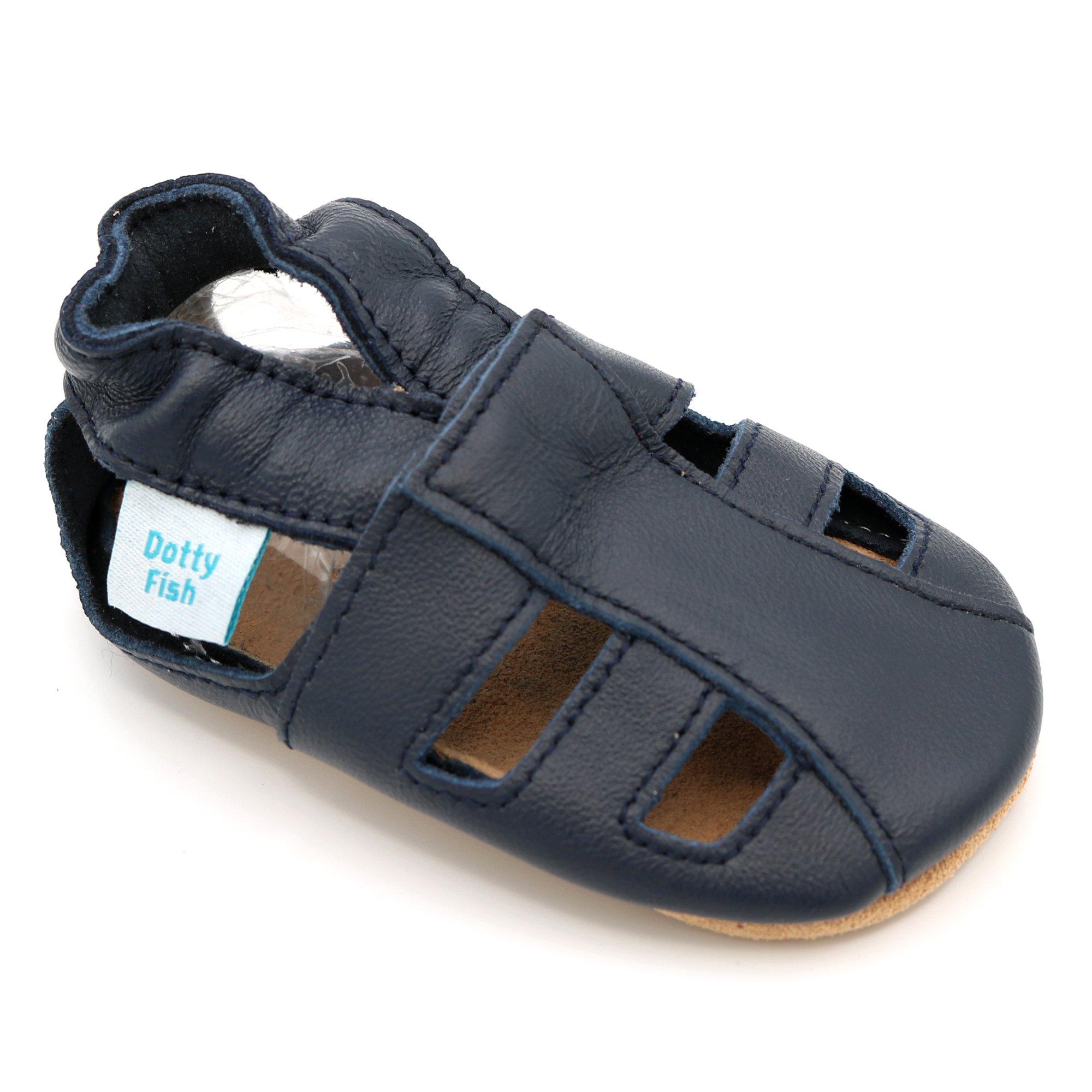 4894be7a34cfd Dotty Fish Chaussures Cuir Souple bébé. Garçons et Filles Sandales. 0-6 Mois