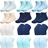 12 Pairs Unisex Baby Toddler Grip Ankle Socks, Warm Cotton Socks with Anti-Skid Crawling Knee Pads