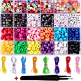 Duufin Beads for Jewellery Making 8mm Pony Beads Colourful Alphabet Letter Beads 8 Rolls Elastic Bracelet String 1 Pc Tweezer