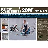 Bâche plastique 20 m² - 4x5 m - Protection contre taches et gouttes de peintures - Protection simple et rapide des meubles, m