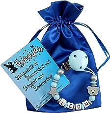 Personalisierte Baby Schnullerkette mit Namen aus Holz für Jungen in Blau   verschiedene Designs verfügbar  perfektes Baby-Geschenk Geburt Taufe
