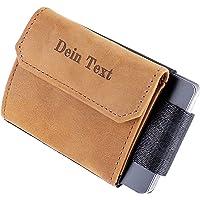 JAIMIE JACOBS Nano Boy Pocket mit Gravur Slim Wallet Minimalistische Geldbörse mit Münzfach (Büffelleder Hellbraun)