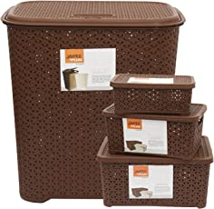 Jaypee plus Combo- Drop All Small Laundry Basket, Keep All with Cover (Big, Small & Mini)