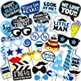 WOBBOX Half Birthday Photo Booth Party Props Blue for Baby Boy , 1/2 Birthday Decorations for Boys , Kids Birthday Party Deco