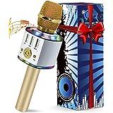 Micro Karaoké sans Fil Bluetooth, Microphone Karaoke Avec LED, Portable Micro Sans Fil Haut-Parleur, Enregistreur, Compatible
