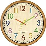 LENRUS Barnväggklocka, 32 cm / 12,5 tum barnväggklocka med ljudlöst urverk och färgglada siffror, tickar inte, bra läsbar, in