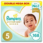 Pampers Premium Care Diapers, Size 5, Junior, 11-16 kg, Double Mega Box, 168 Count