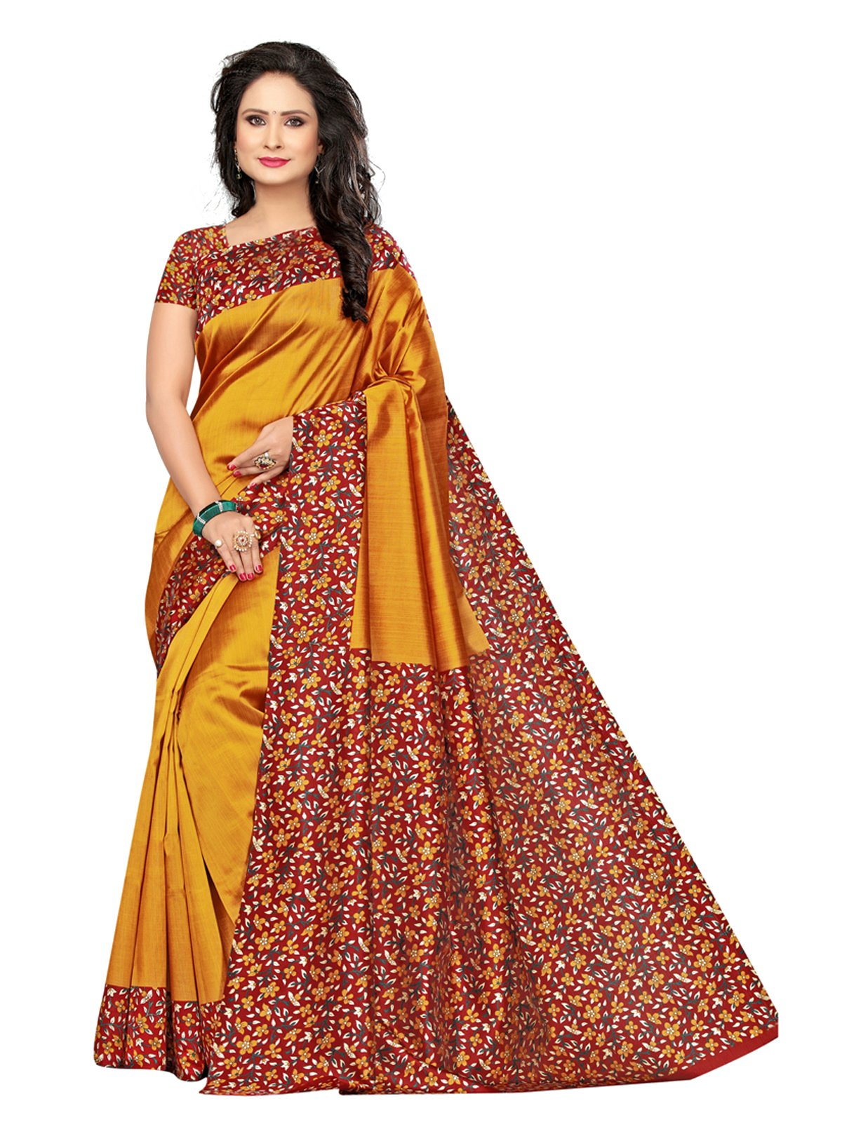 Kanchnar Women's Yellow Poly silk Printed Saree with Blouse(574S9022)