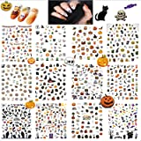 12 STKS Halloween Nail Art Stickers Decals, 3D Zelfklevende Nail Decals Sticker DIY Decoraties, HOINCO Pompoen/Spinnenweb/Hek