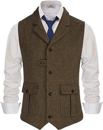 PaulJones Men's Vest Jacket Suit Sleeveless Lapel Collar Button Pockets Retro Tweed Waistcoat Business Wedding Jacket