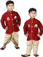 JBN Creation Boys Cotton Silk Kurta and Pyjama Set (Maroon_VASBCO015)