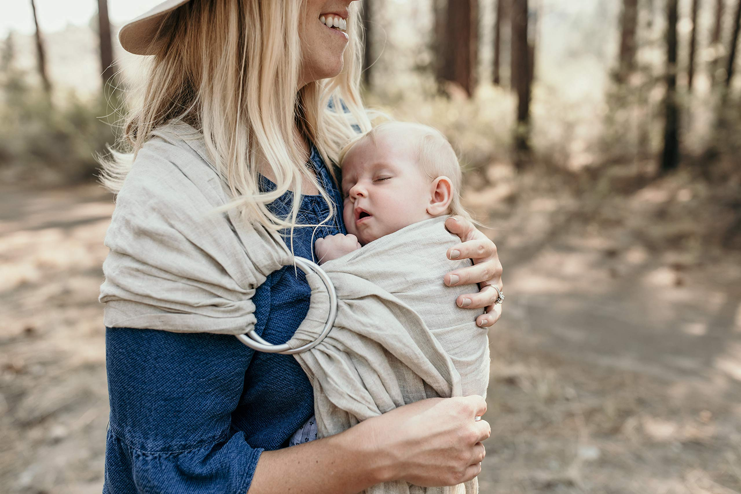 Hip Baby Wrap Linen Ring Sling Baby Carrier for Infants and Toddlers (Oat) Hip Baby Wrap Our slings are all fair trade and eco-friendly. Made with beautiful 100% linen, breathable fabric and with top quality solid aluminum sling rings. For babies 8 - 35 lbs. 4