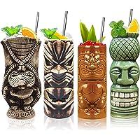 Lot de 4 verres Tiki en céramique - Motifs tropicaux hawaïens - Idéaux pour les cocktails, les fêtes, les bars, etc
