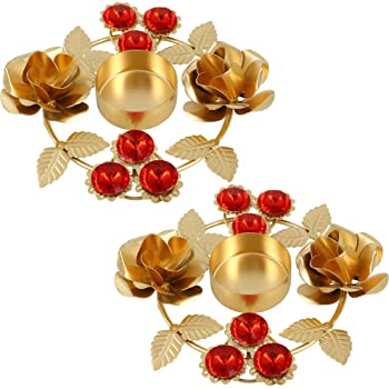 Shalinindia Set Of 2- Home Decorations Diwali Diya Lights Candle Holder Floral Arrangements