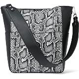 BROMEN Handtasche Damen Schultertasche Umhängetasche Groß Shopper Designer Damen Tasche Beuteltasche mit Geldbörse Schlangenm