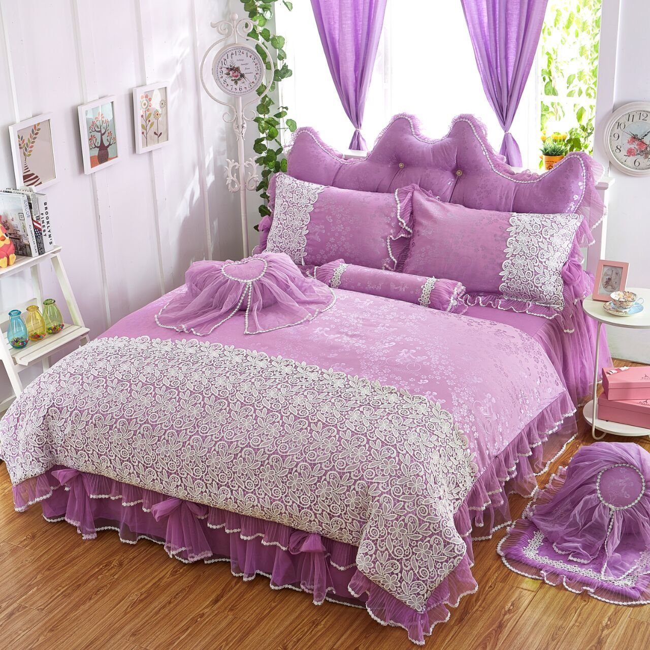 Girls Bedding Sets White Lace Ruffle Duvet Cover Set Princess Bed ...