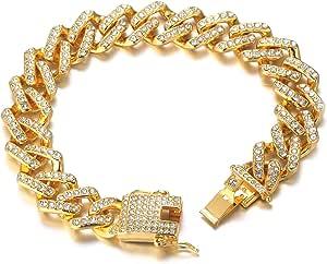 Halukakah Collane Bracciali Uomo Oro,Catenina Cubano Miami Iced out con Diamante,18kt Vero Oro/Oro Bianco Girocollo Bracciale,Oro/Argento,con Pacco Regalo Gratuito