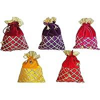 Ruchit Handicraft Potli, Wristlets Ethnic Potli For Women, Designer Rajasthani Style Royal Clutch Silk Batwa Bag, Zari…