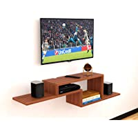 """DAS Wall Mount TV Entertainment Unit/with Set Top Box Stand for Living Room Classic Walnut (Ideal for up to 42"""") Screen…"""