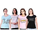 NIVIK Women's T-Shirt (Pack of 4) (CMB4-TSHIRT-RED-GRN-BLK-YLW-S_Multicolored_Small)